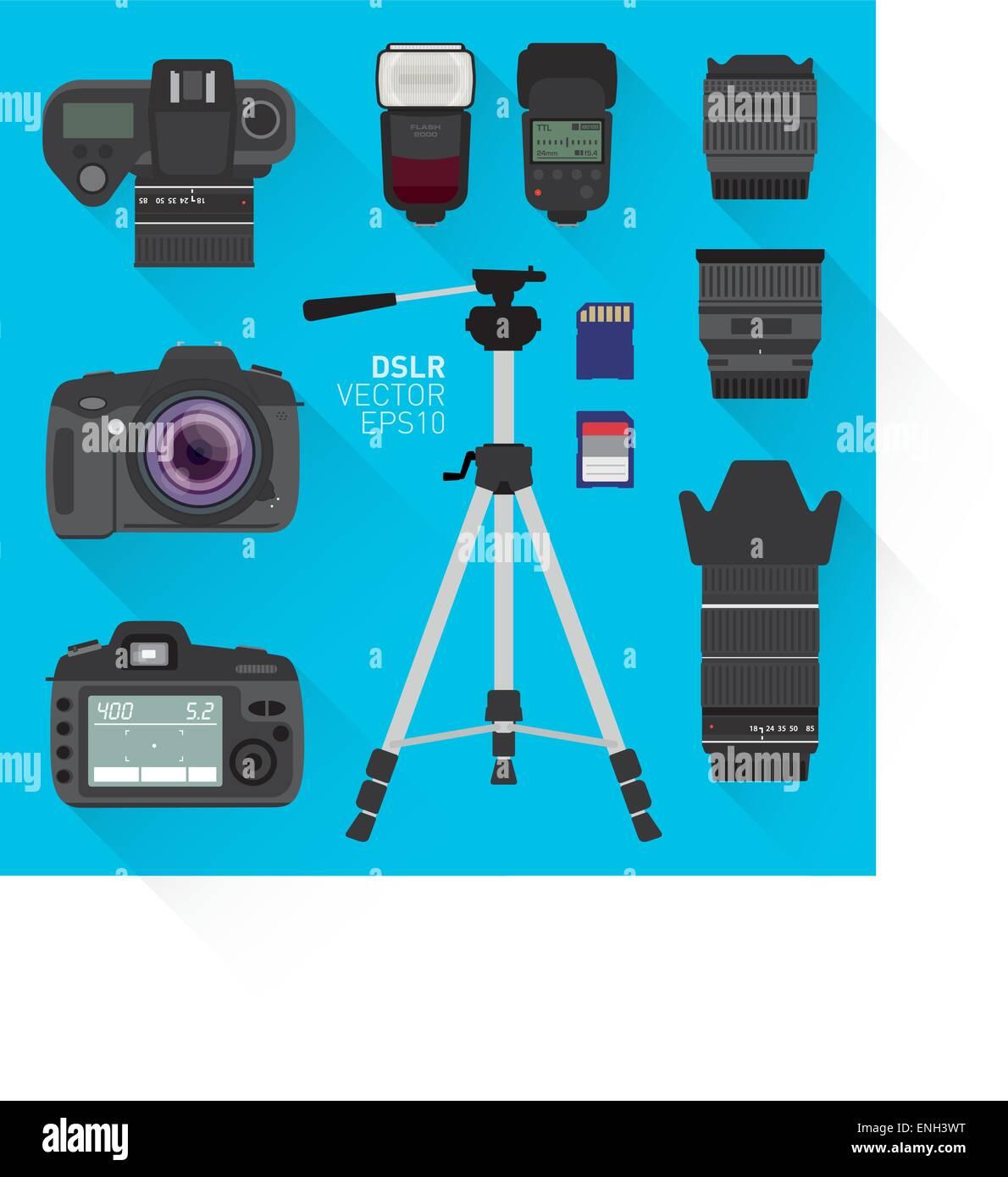 DSLR vector camera set - Stock Image