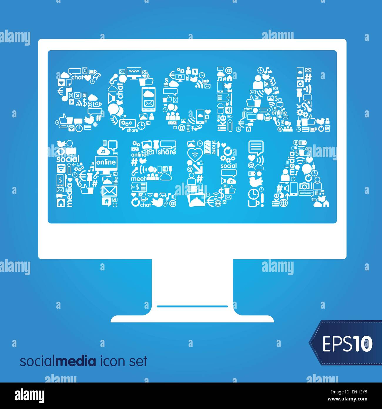 social media vector items concept image - Stock Image