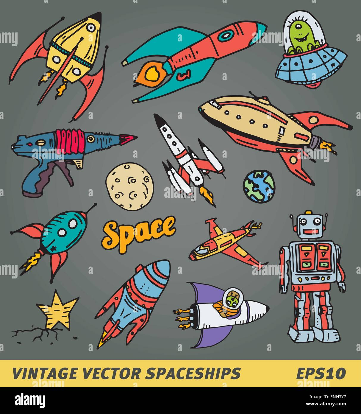 Hand drawn space items like spaceship, ufo robot and lasergun - Stock Image