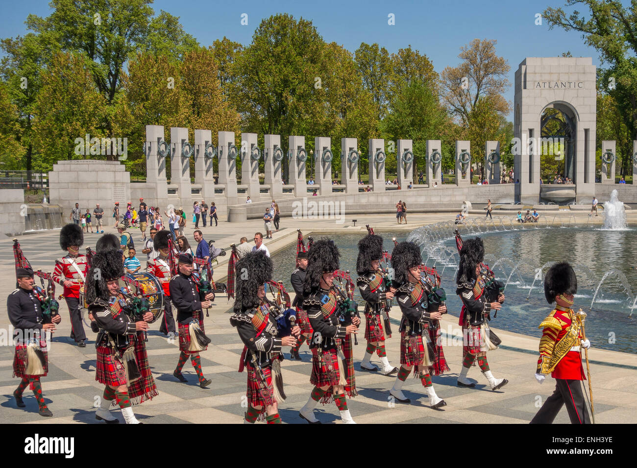 WASHINGTON, DC, USA - British Army's 1st Battalion Scots Guards Pipes and Drums marching at World War Two Memorial. - Stock Image