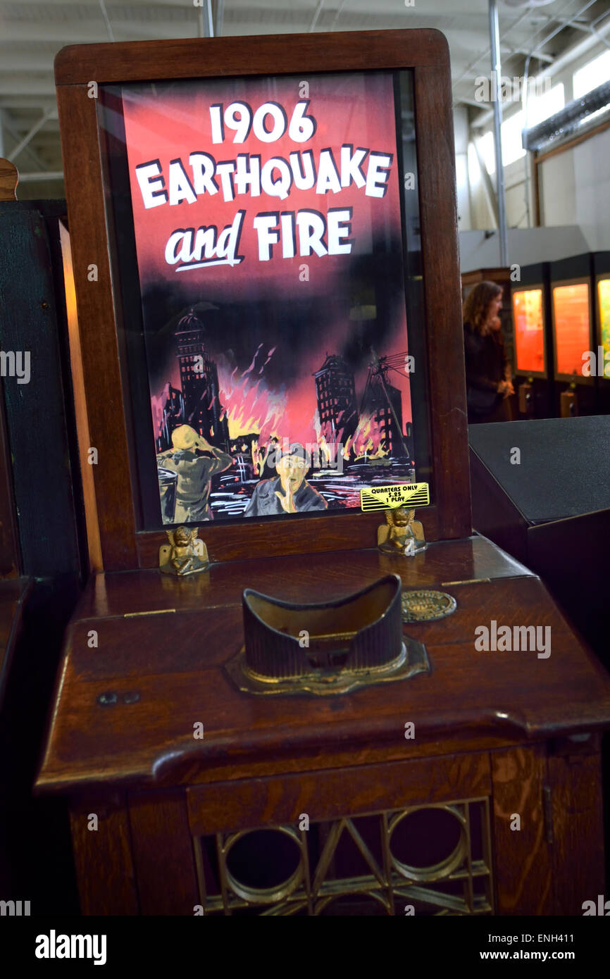 Vintage original wooden amusement arcade movie machine featuring the 1906 San Francisco earthquake and subsequent - Stock Image