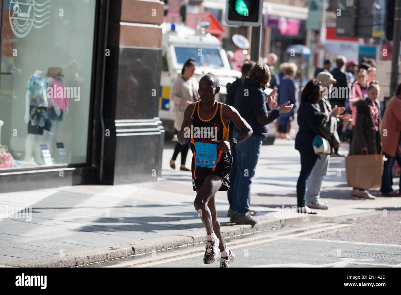Belfast UK. 4th May 2015. Gideon Kimosop who came second in the 2015 Belfast City Marathon - Stock Image