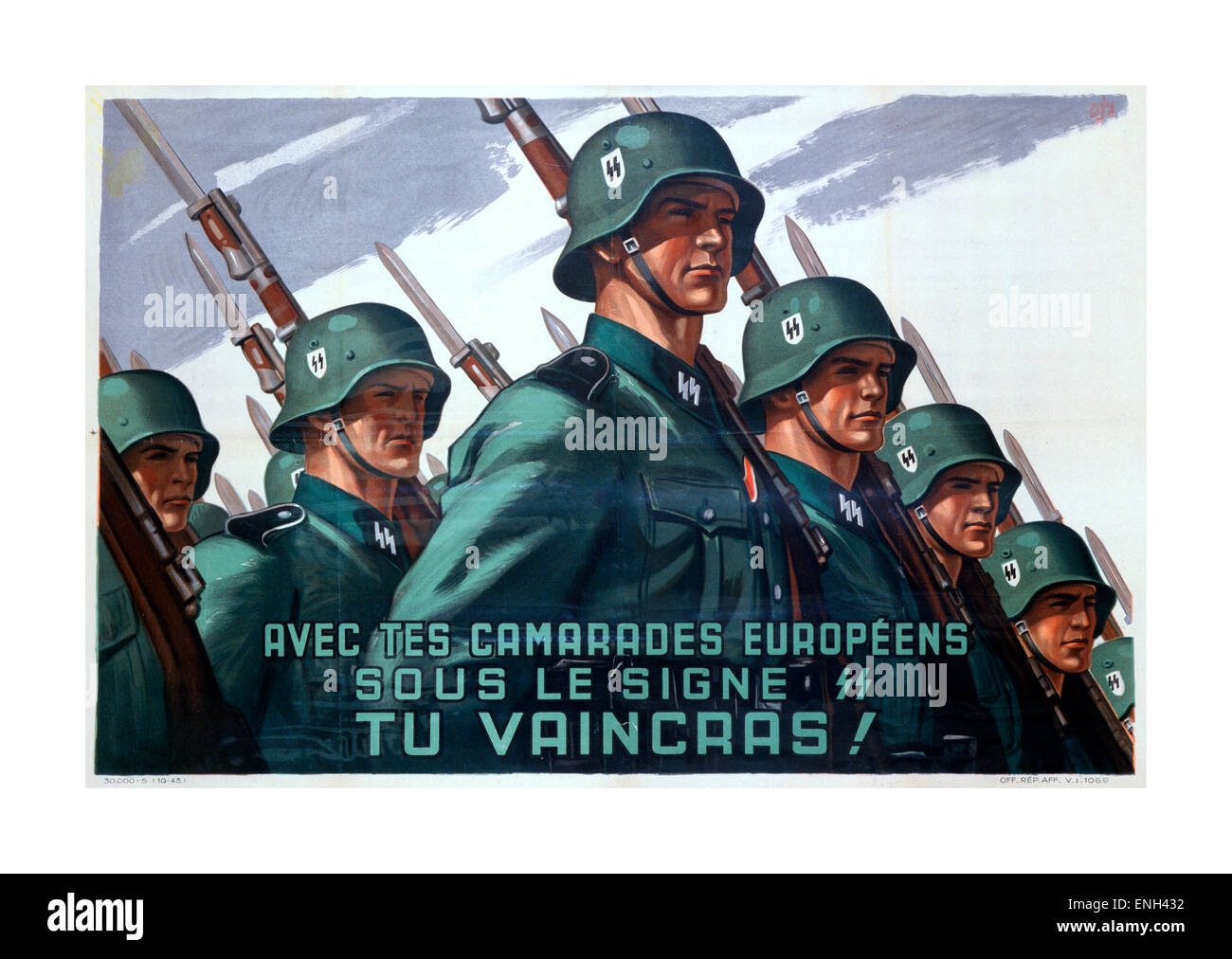 1943 French language propaganda recruitment poster for the German SS military - Stock Image