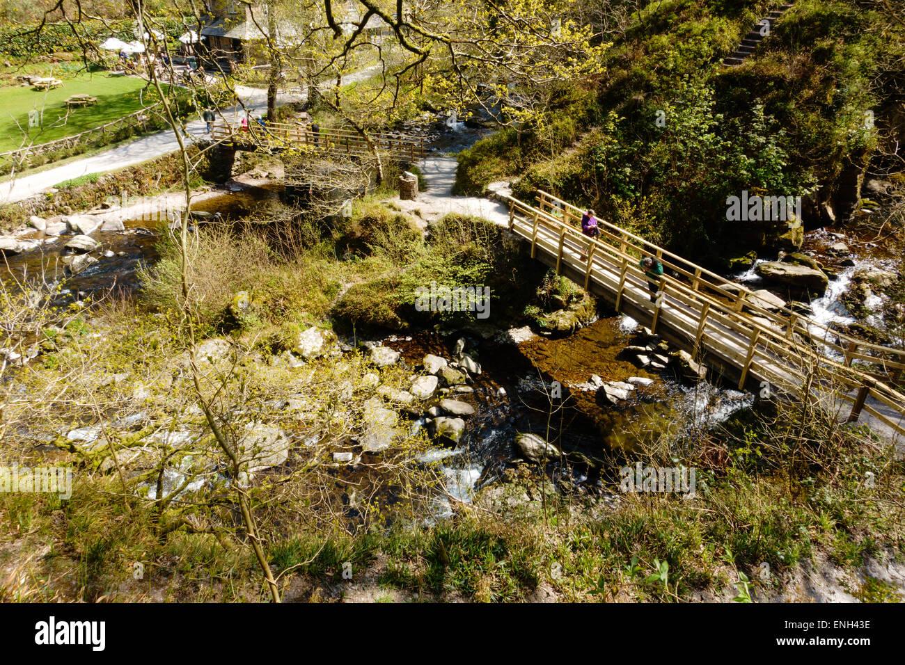 Watersmeet on Exmoor where the East Lyn river and Hoar Oak water meet in North Devon - Stock Image