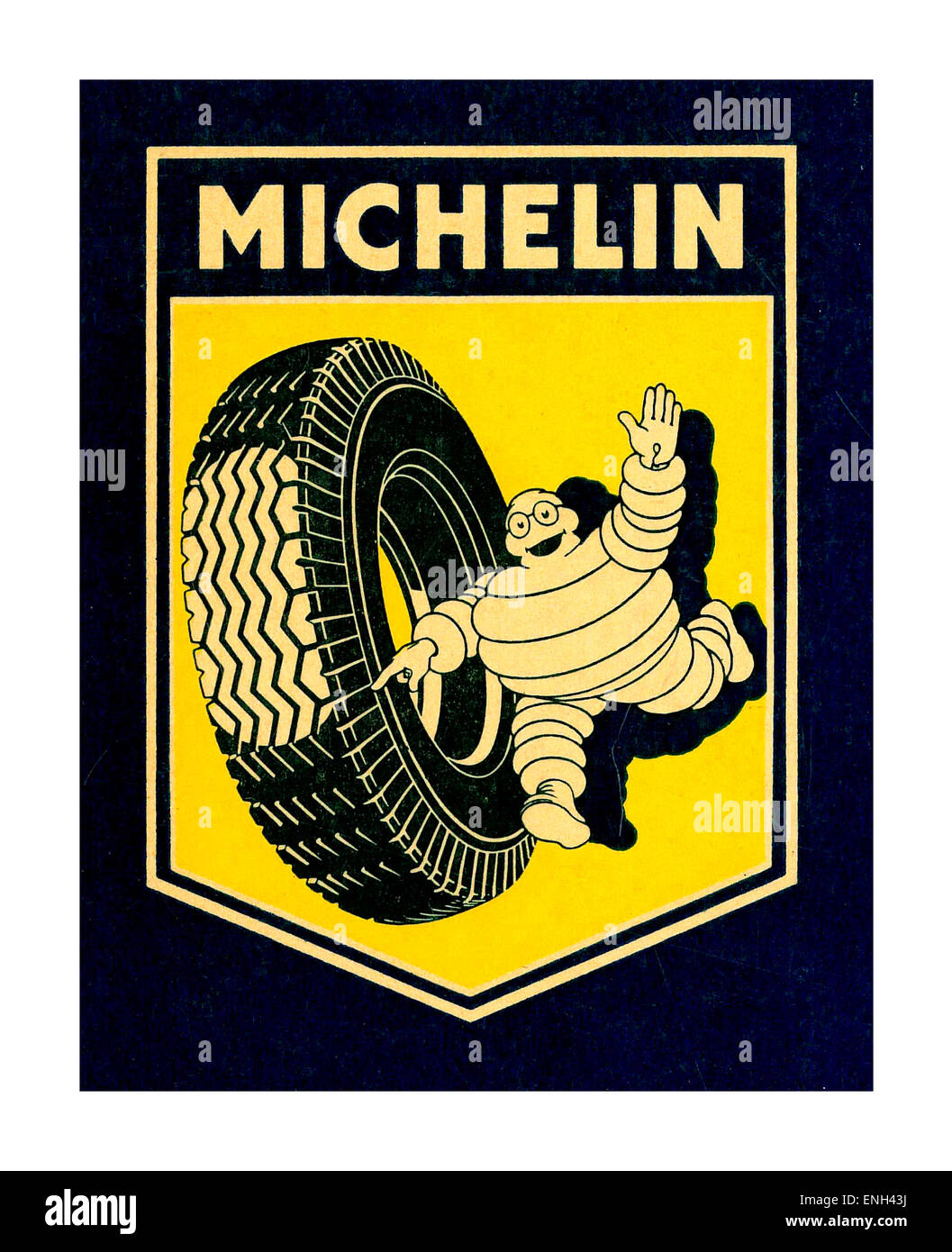 Vintage poster for Michelin tyres with Michelin Man running with car tyre pointing to tread contact footprint - Stock Image