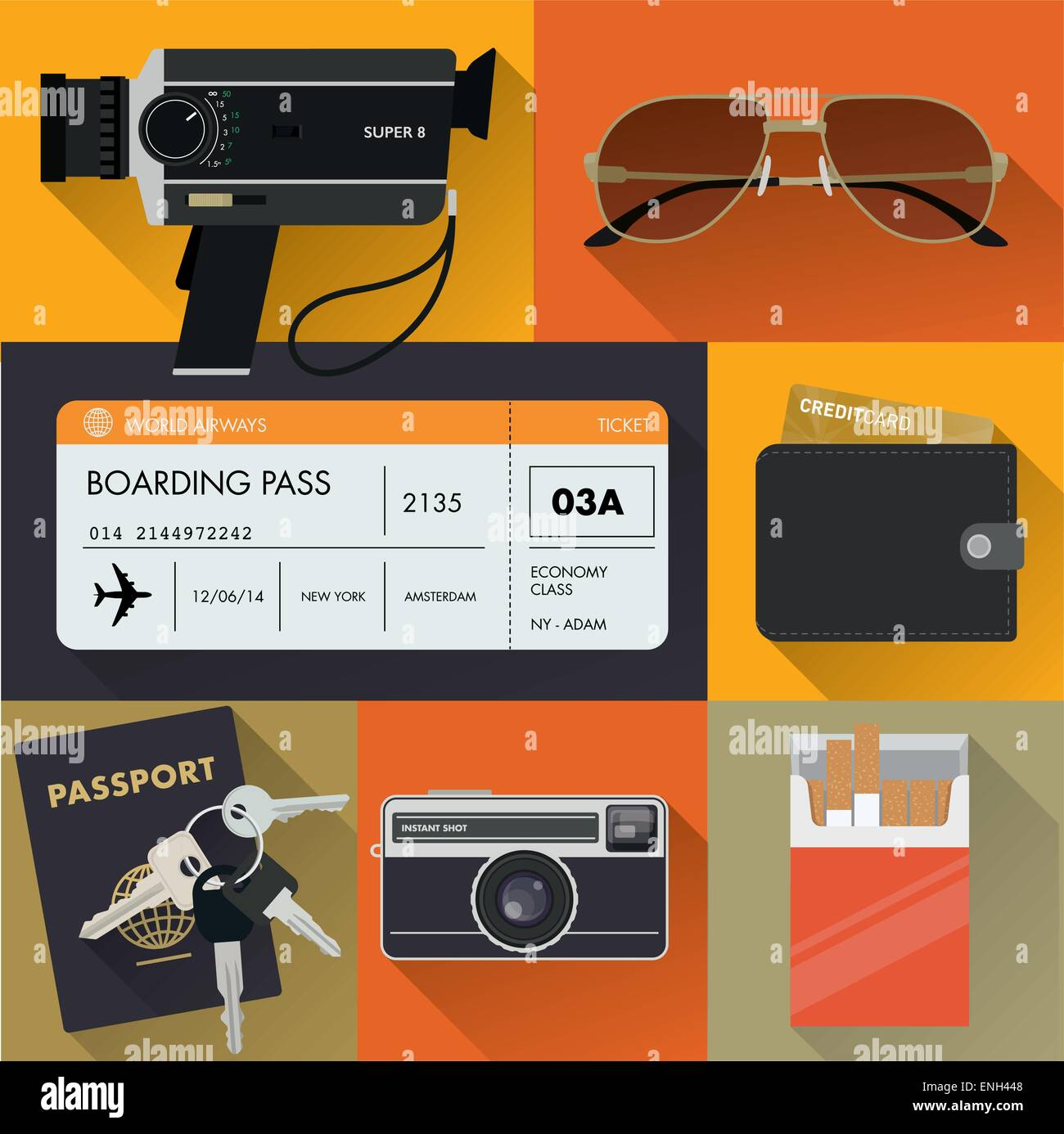 Vintage travel/tourism set. - Stock Vector