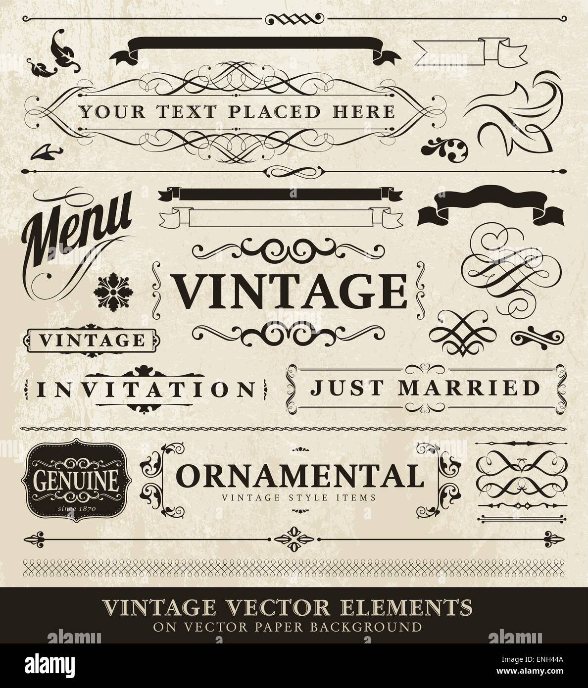 Vector vintage style elements - Stock Image