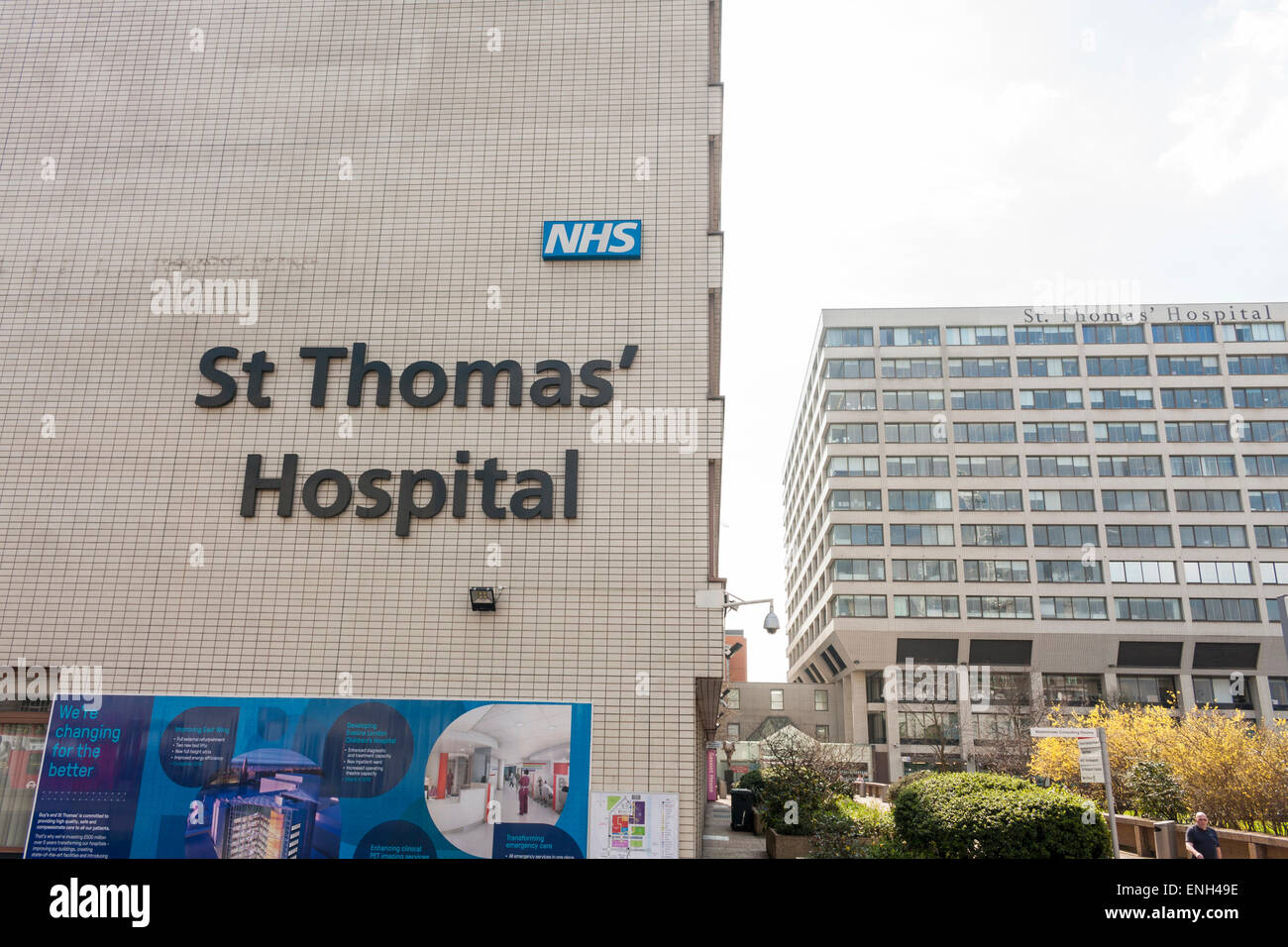 Exterior of St Thomas' Hospital in London, UK - Stock Image