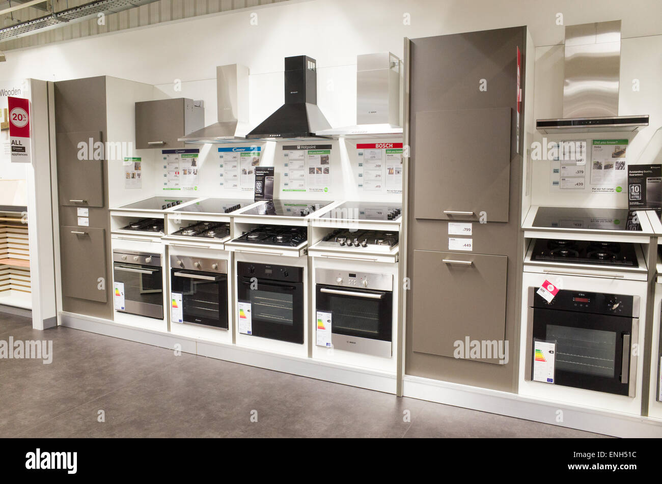 Kitchen cookers in Homebase store, England, UK - Stock Image