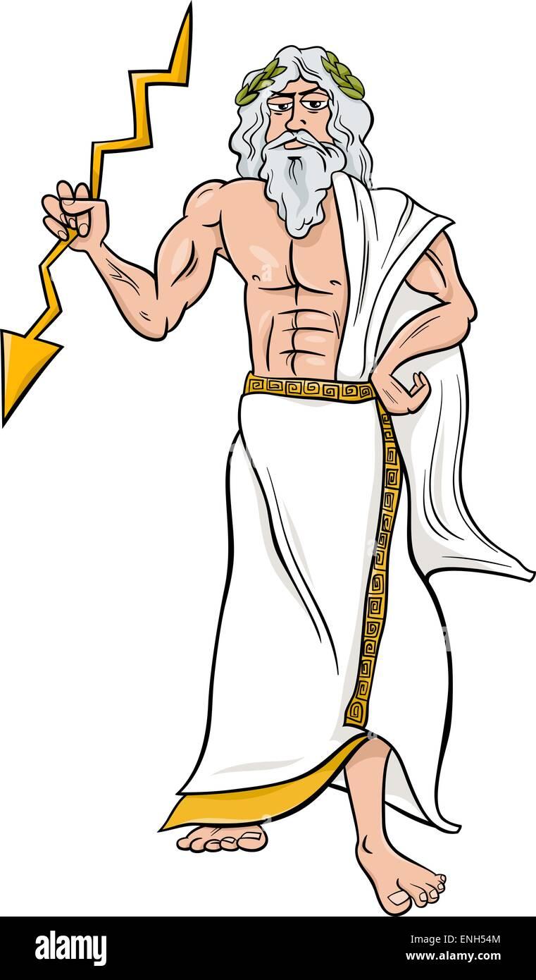 Cartoon Illustration Of Mythological Greek God Zeus Stock