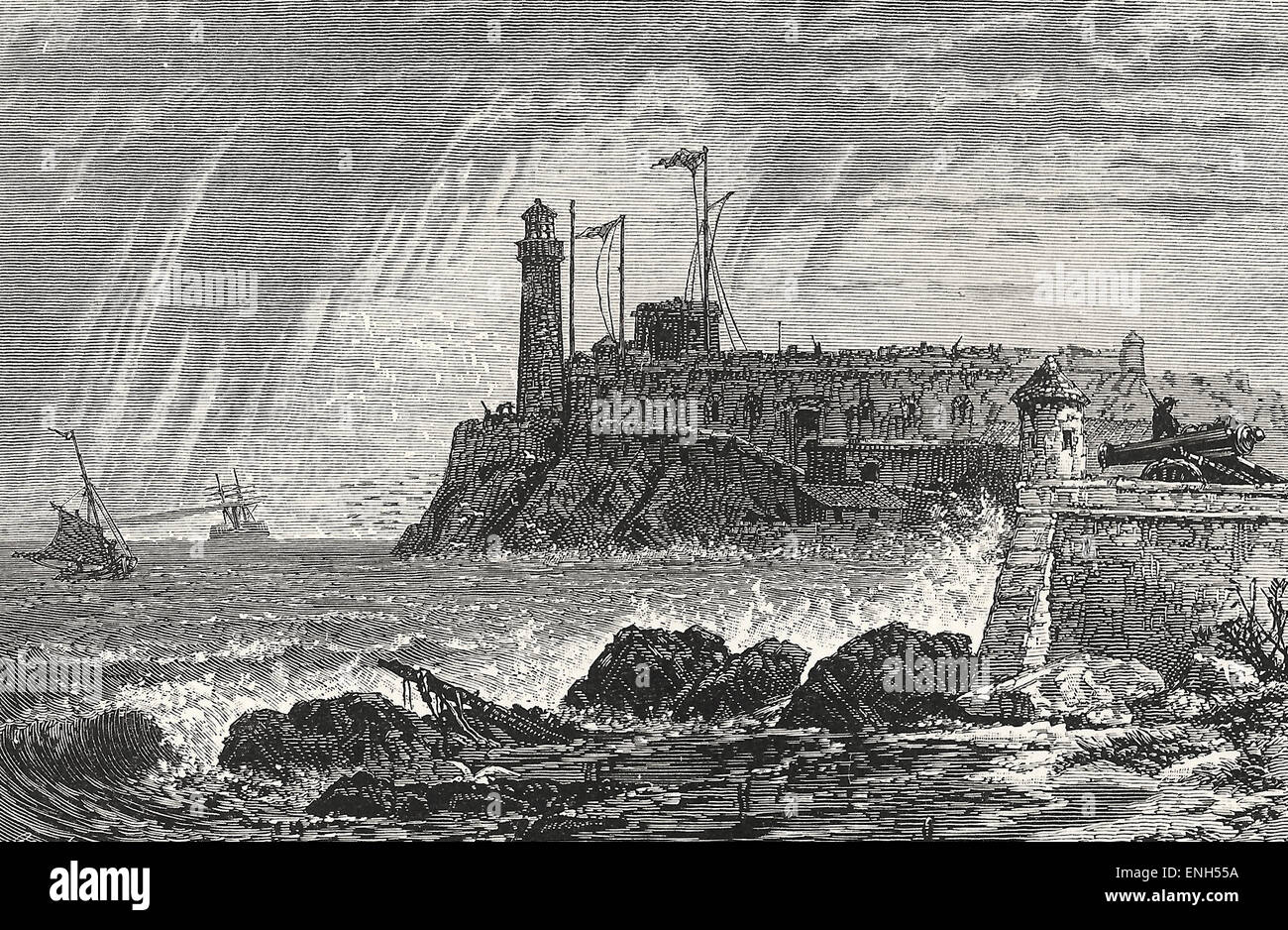 Morro Castle, Havana, Cuba, 1879 - Stock Image