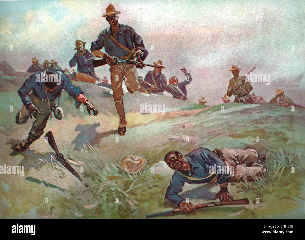 Troop C, Ninth U.S Cavalry Captain Taylor Leading the Charge at San Juan during the Spanish American War, 1898 - Stock Image