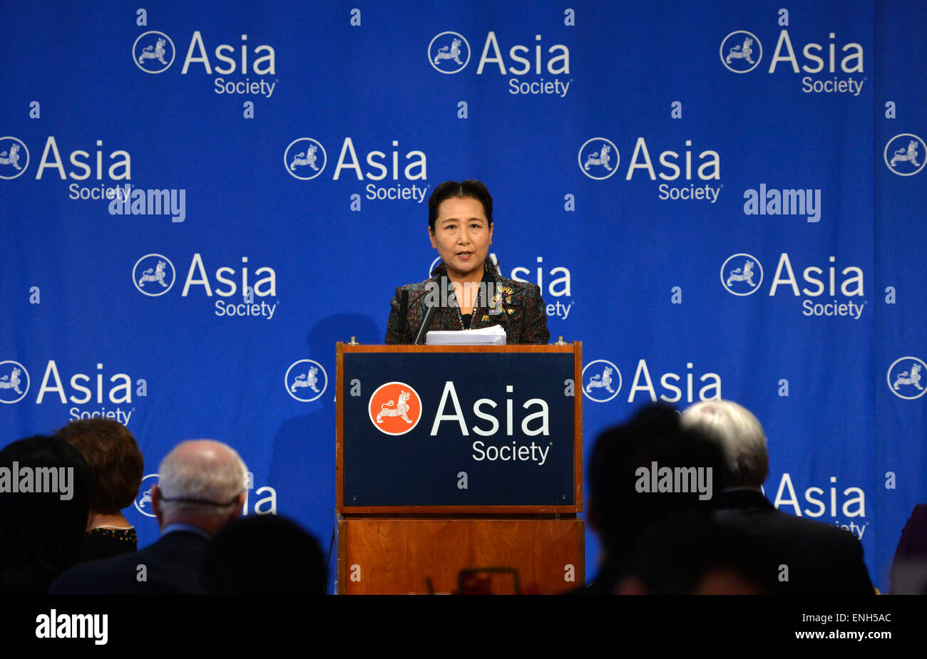 New York, USA. 4th May, 2015. Cui Yuying, deputy director of the State Council Information Office of China, delivers Stock Photo