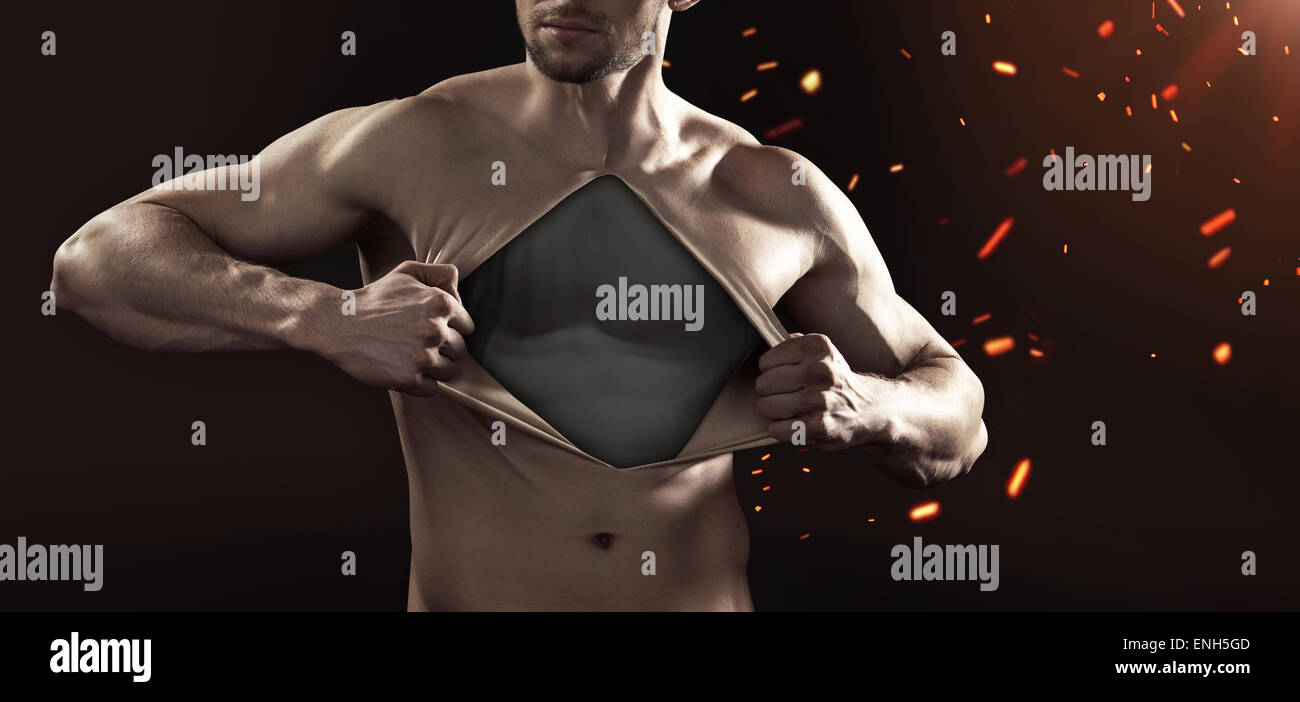 Human dummy pulling his chest skin away - Stock Image