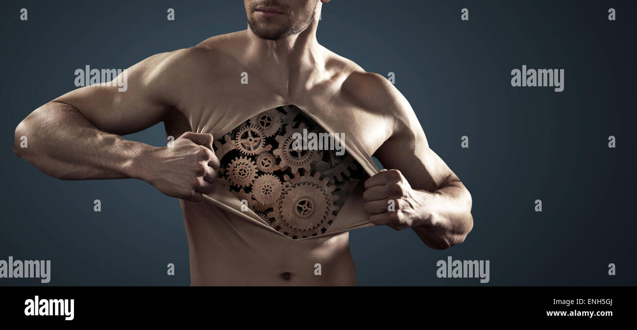 Human robot pulling his thick chest skin away - Stock Image