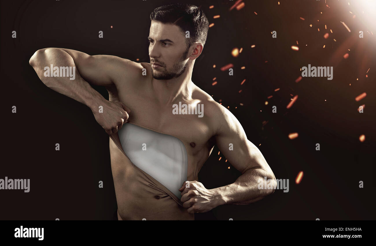 Human mannequin pulling his chest skin away - Stock Image