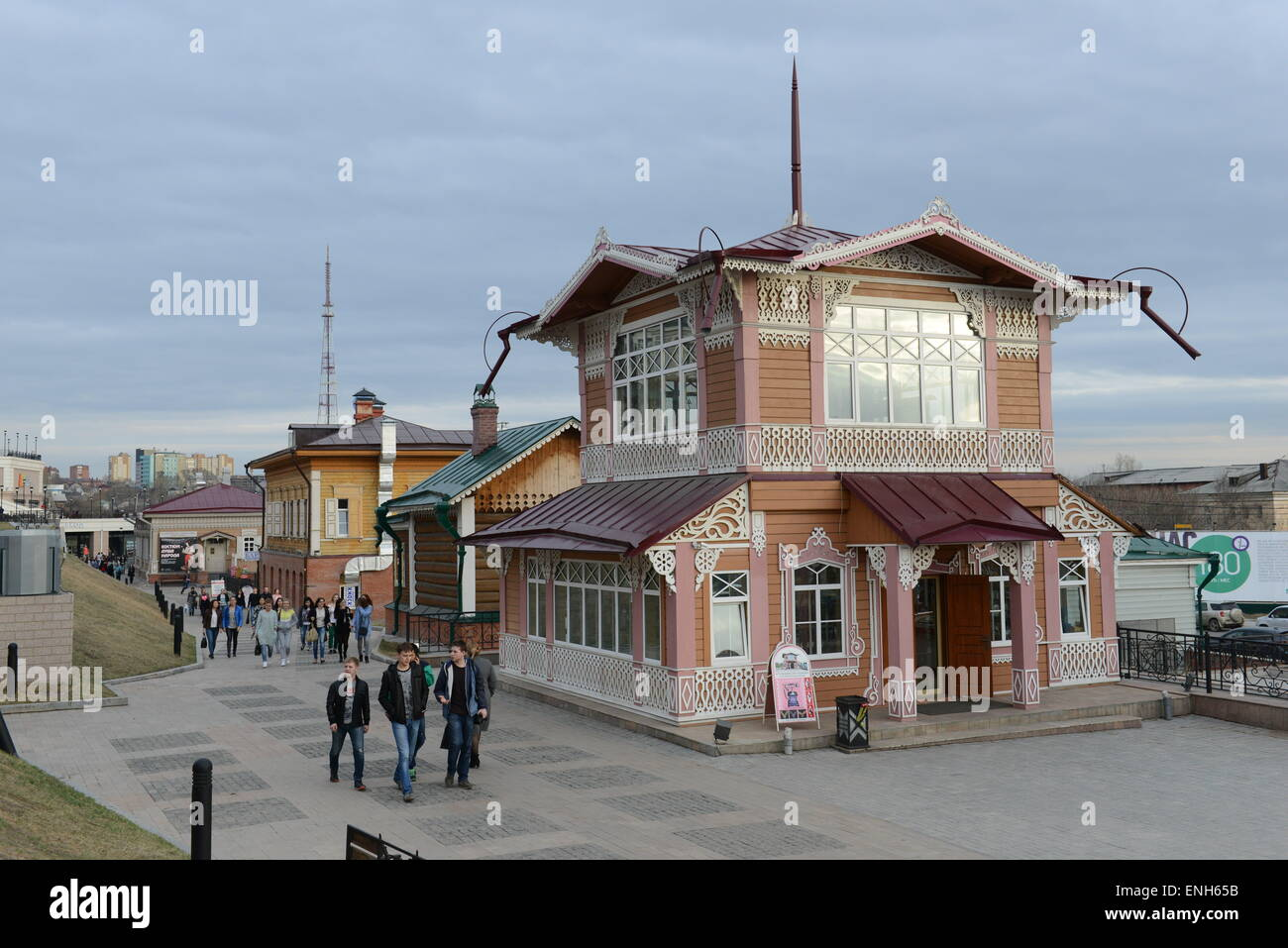 130 Kvartal is Irkutsk's most popular entertainment area. Restaurants, clubs and bars located in old traditional - Stock Image