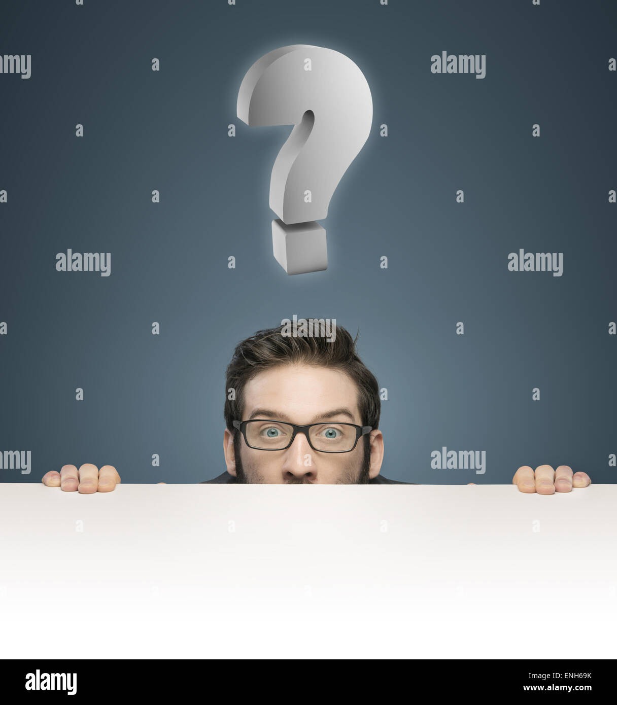 Closeup portrait of a businessman with a question mark - Stock Image