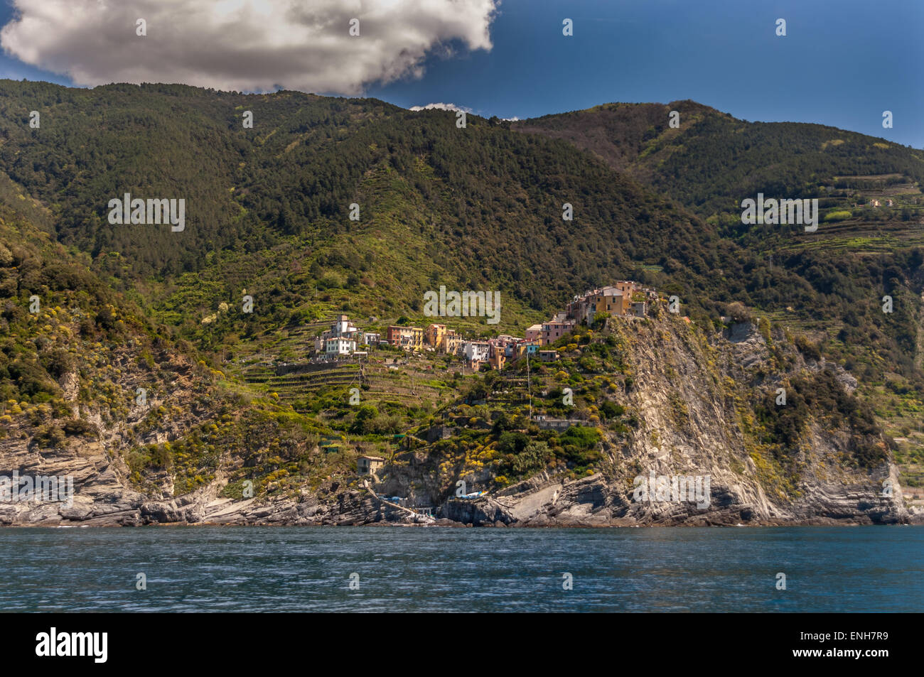 View of Cinque Terre coastline and Italian Riviera from Gulf of Poets Maritime Tourist Consortium Boat - Stock Image