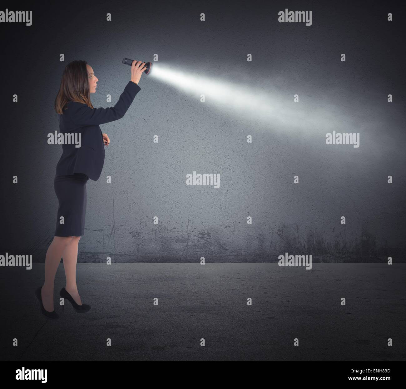 Torch lights to search - Stock Image