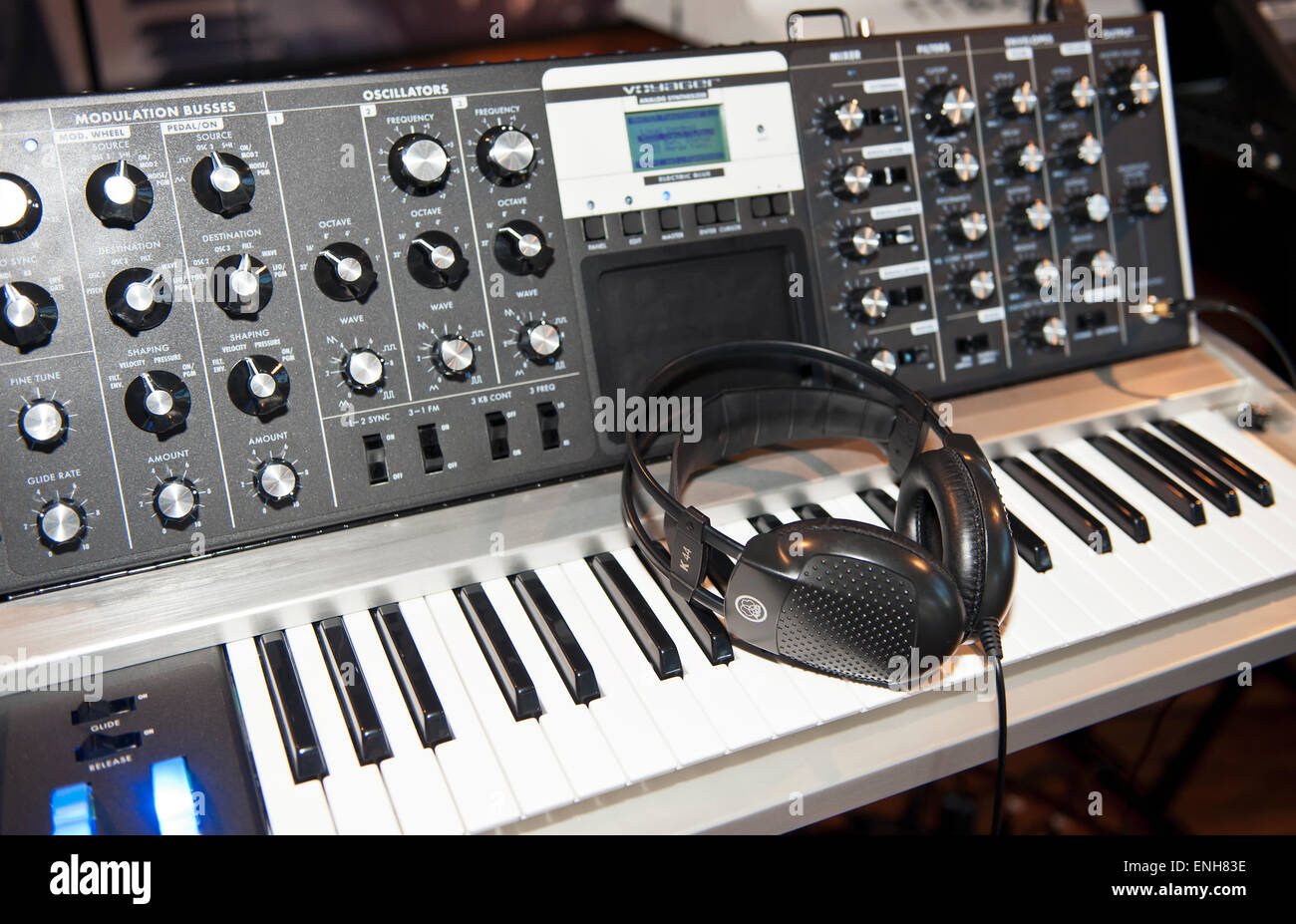Moog Voyager Analog Synthesizer with headphones, The Moog Factory, Asheville NC. - Stock Image