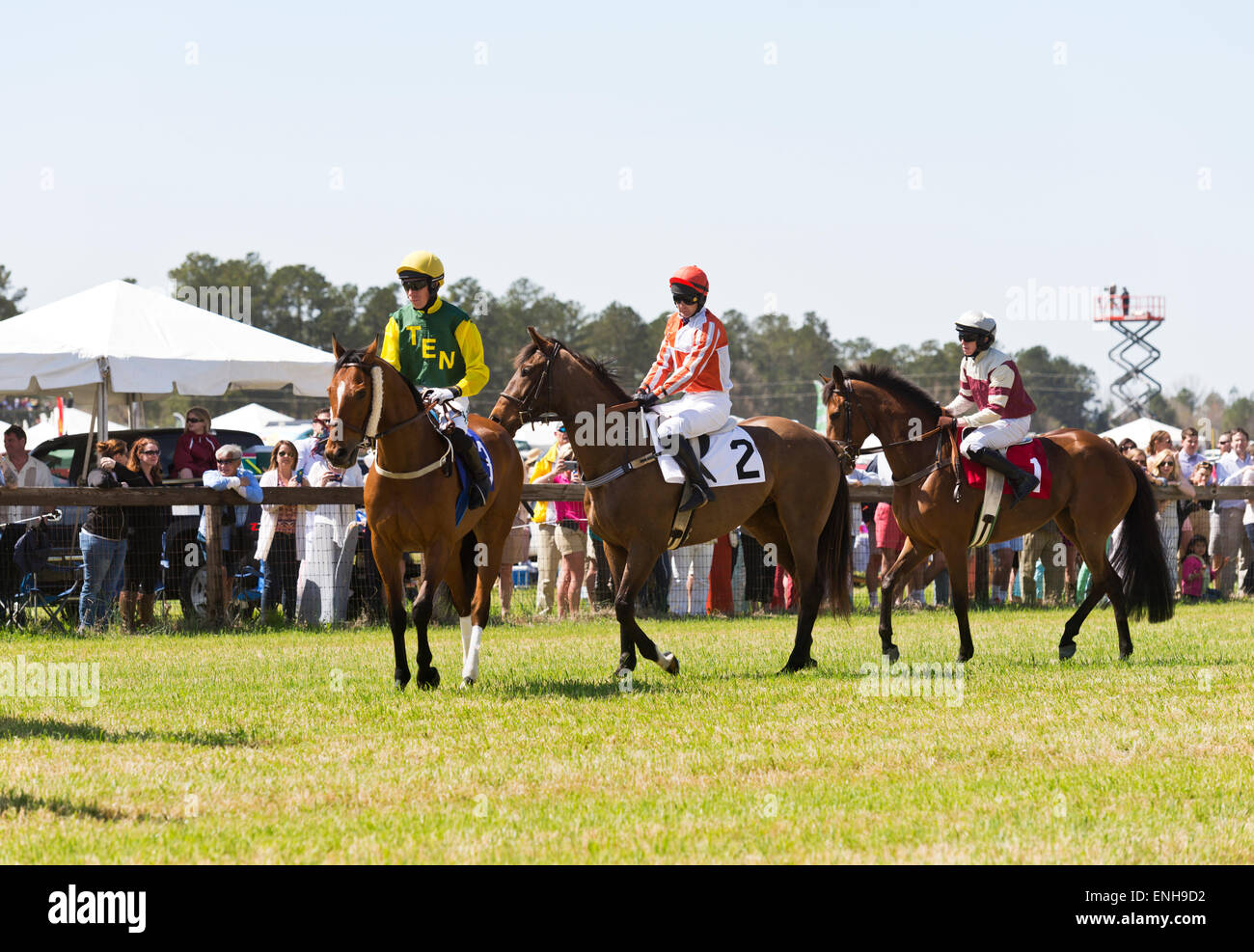 """The 64th Running of the Stoneybrook Steeplechase Races, horses and jockeys warm up before race three, """"The Century Stock Photo"""