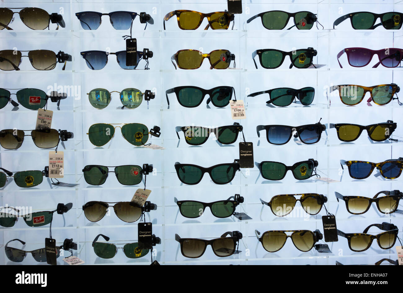 2af240be7b Ray Ban sunglasses display in UK airport duty free shop. - Stock Image