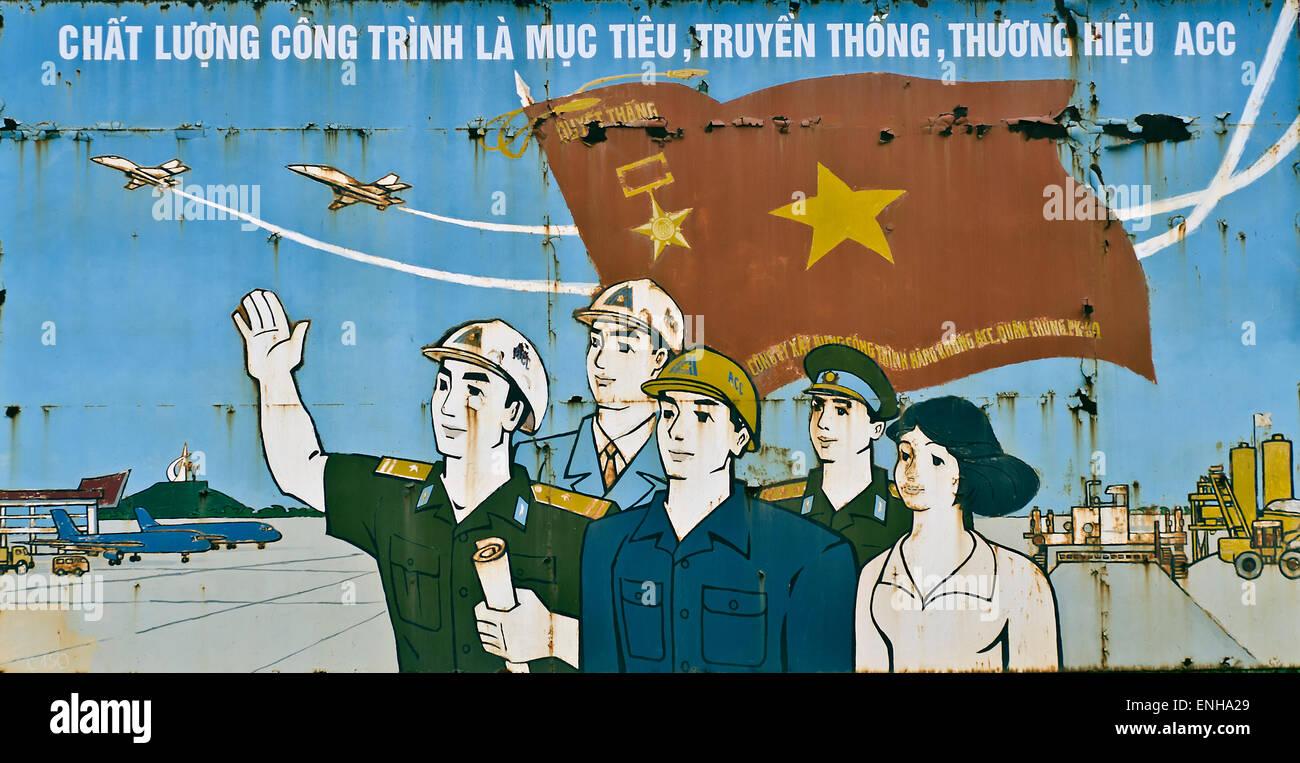 Propaganda billbord,Hanoi,Vietnam - Stock Image