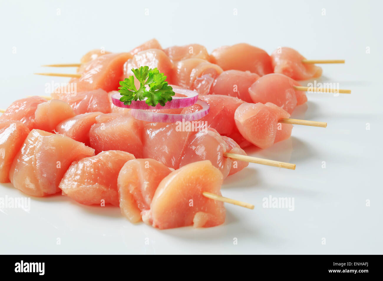 pieces of raw chicken meat on skewers stock photo 82130710 alamy
