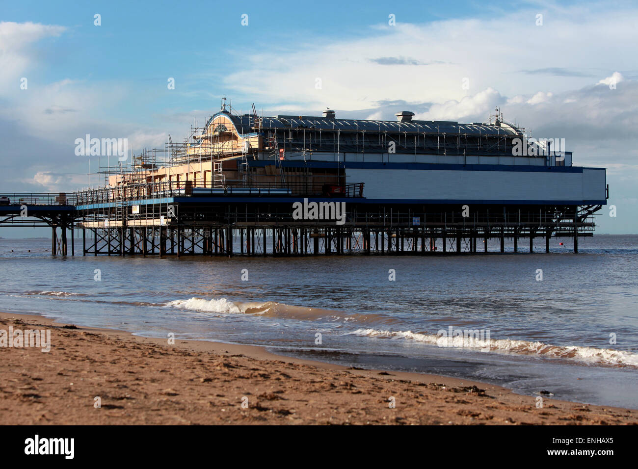 Cleethorpes Pier at Cleethorpes beach near Grimsby undergoing a refurbishment - Stock Image