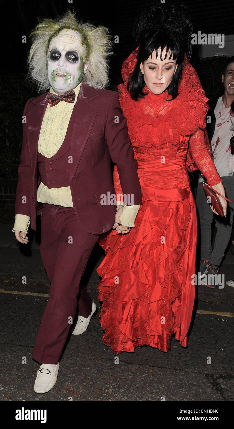 jonathan ross halloween party arrivals leigh francis attends dressed as beetlejuice and