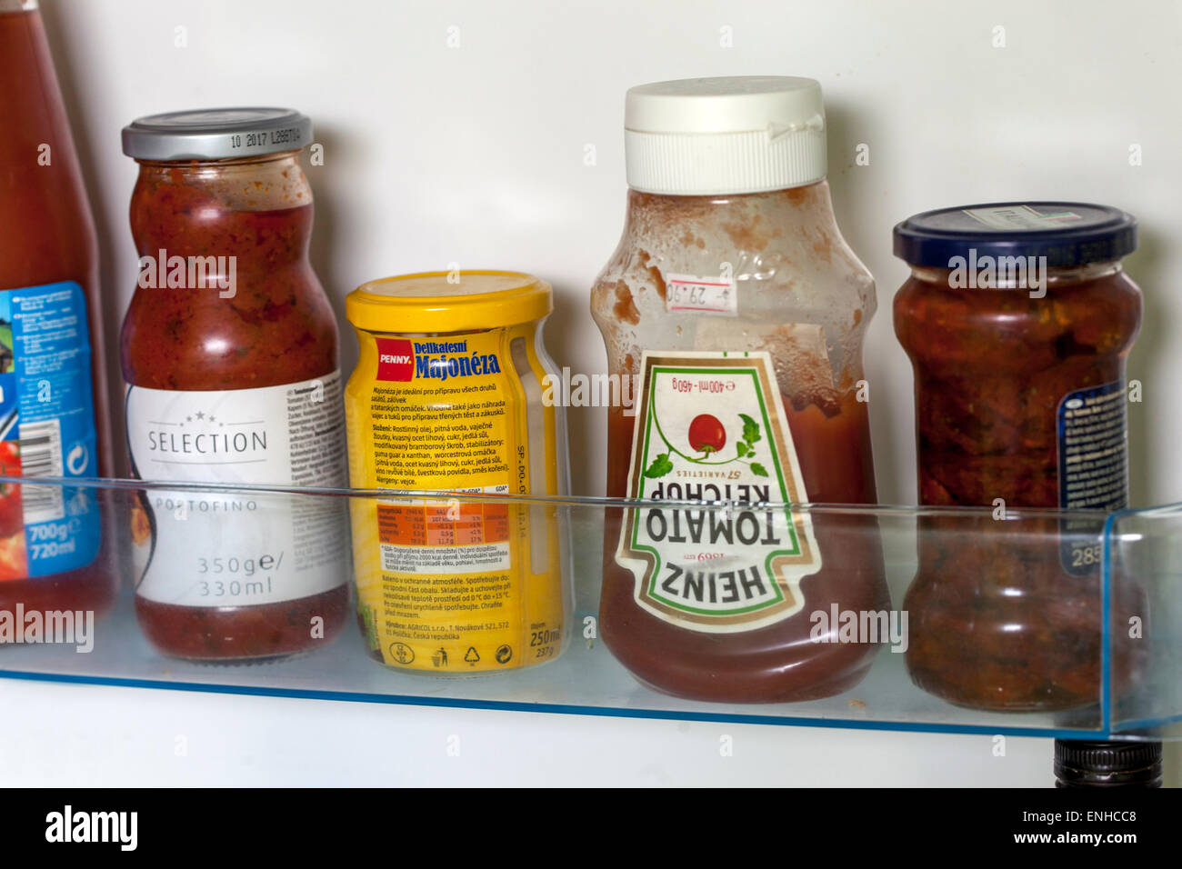 Heinz ketchup, fridge - Stock Image