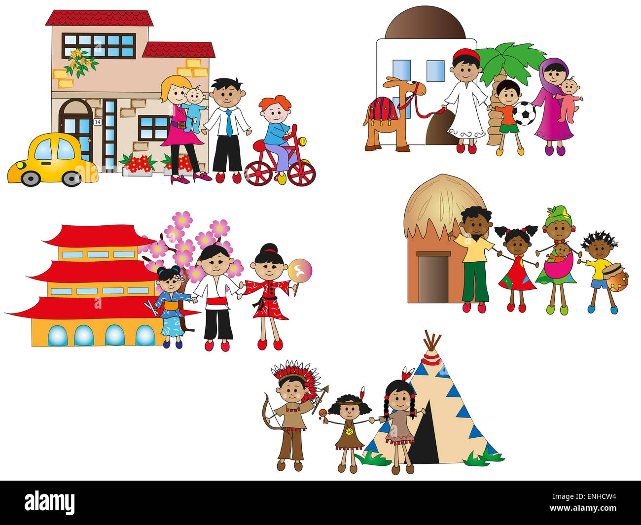 illustration of different family isolated - Stock Image