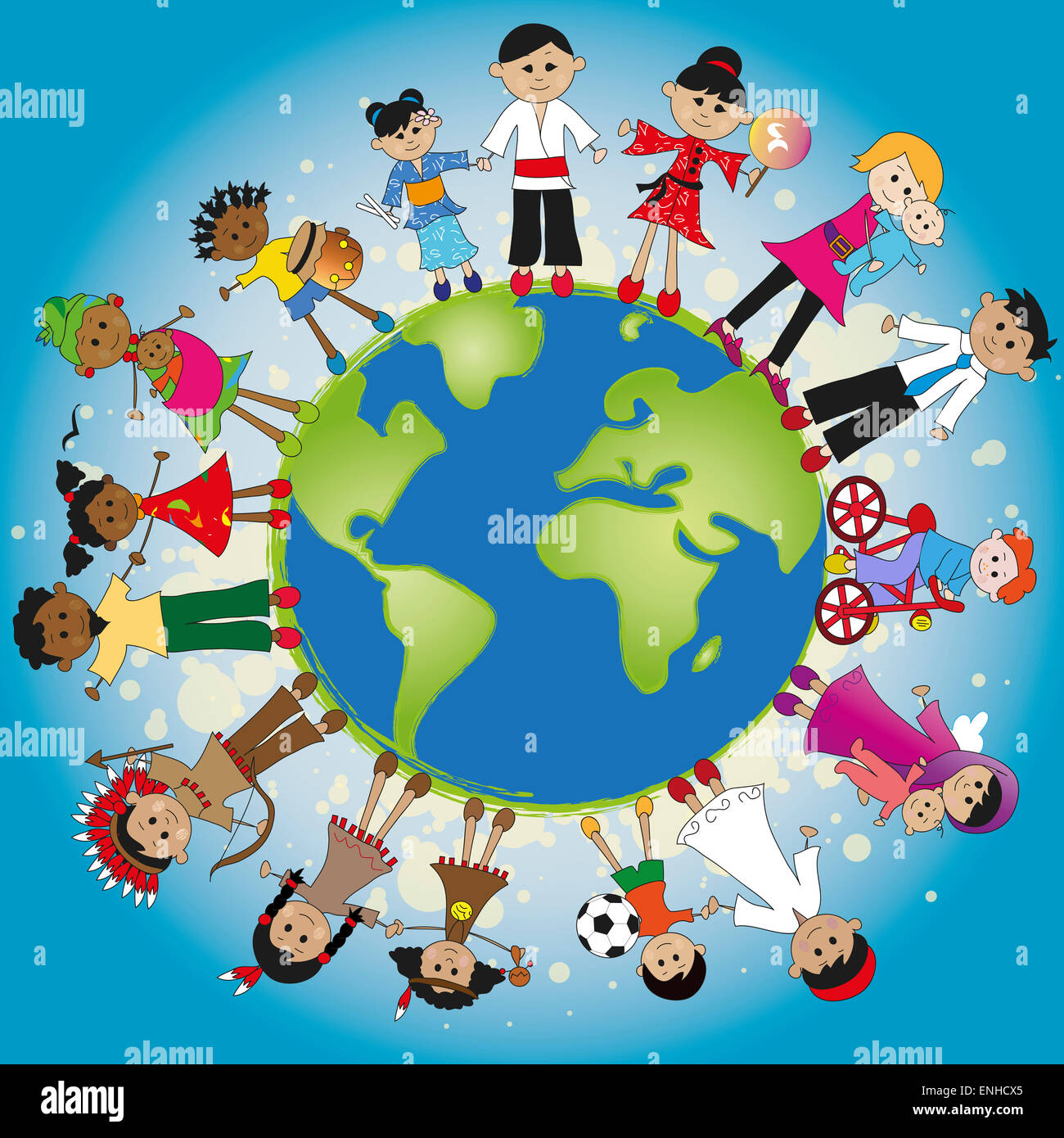 illustration of different family around the world Stock Photo - Alamy