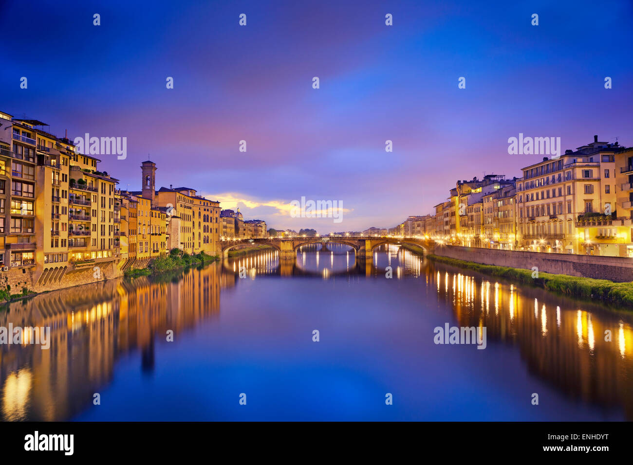 Florence. Image of Florence taken from Ponte Vecchio at dusk. - Stock Image