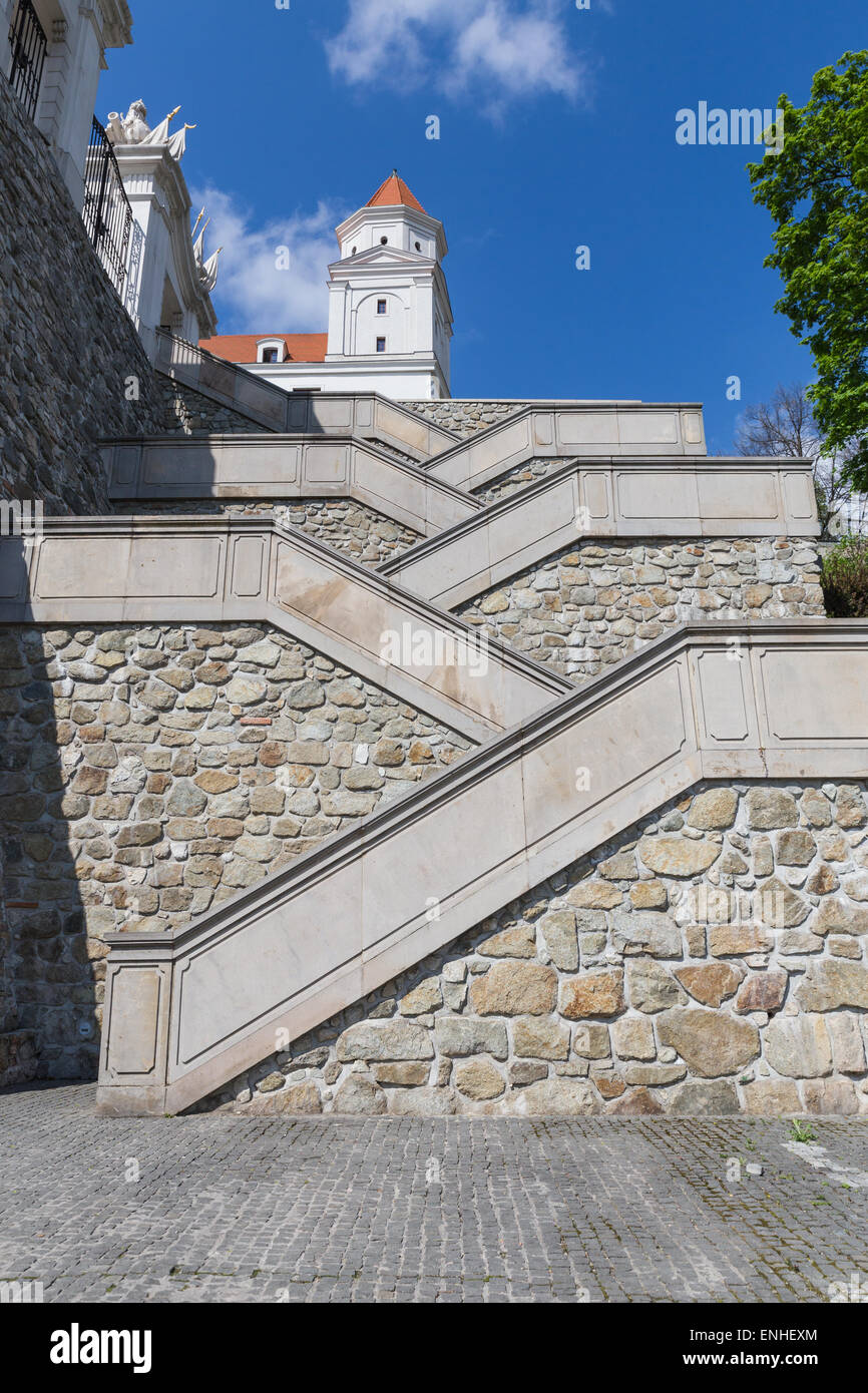 Stairs To Renovated Bratislava Castle Front Yard On Sunny Day In