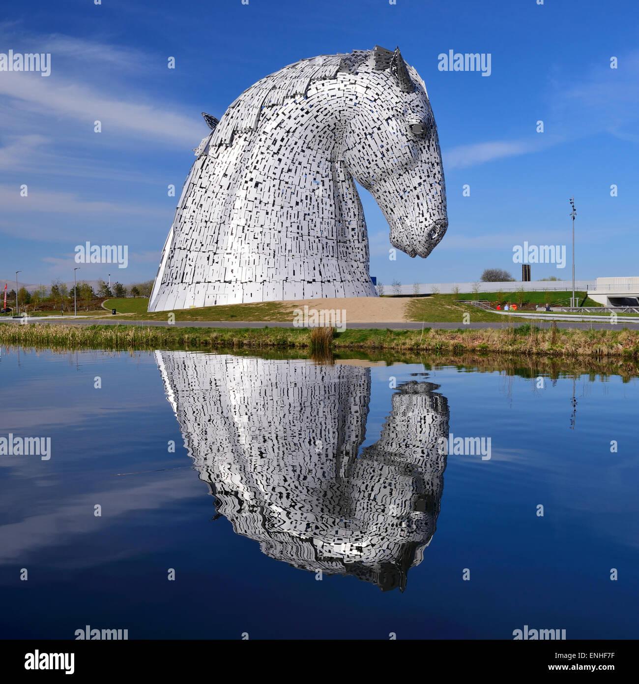 The Kelpies sculptures in Helix Park, Falkirk, Scotland - Stock Image