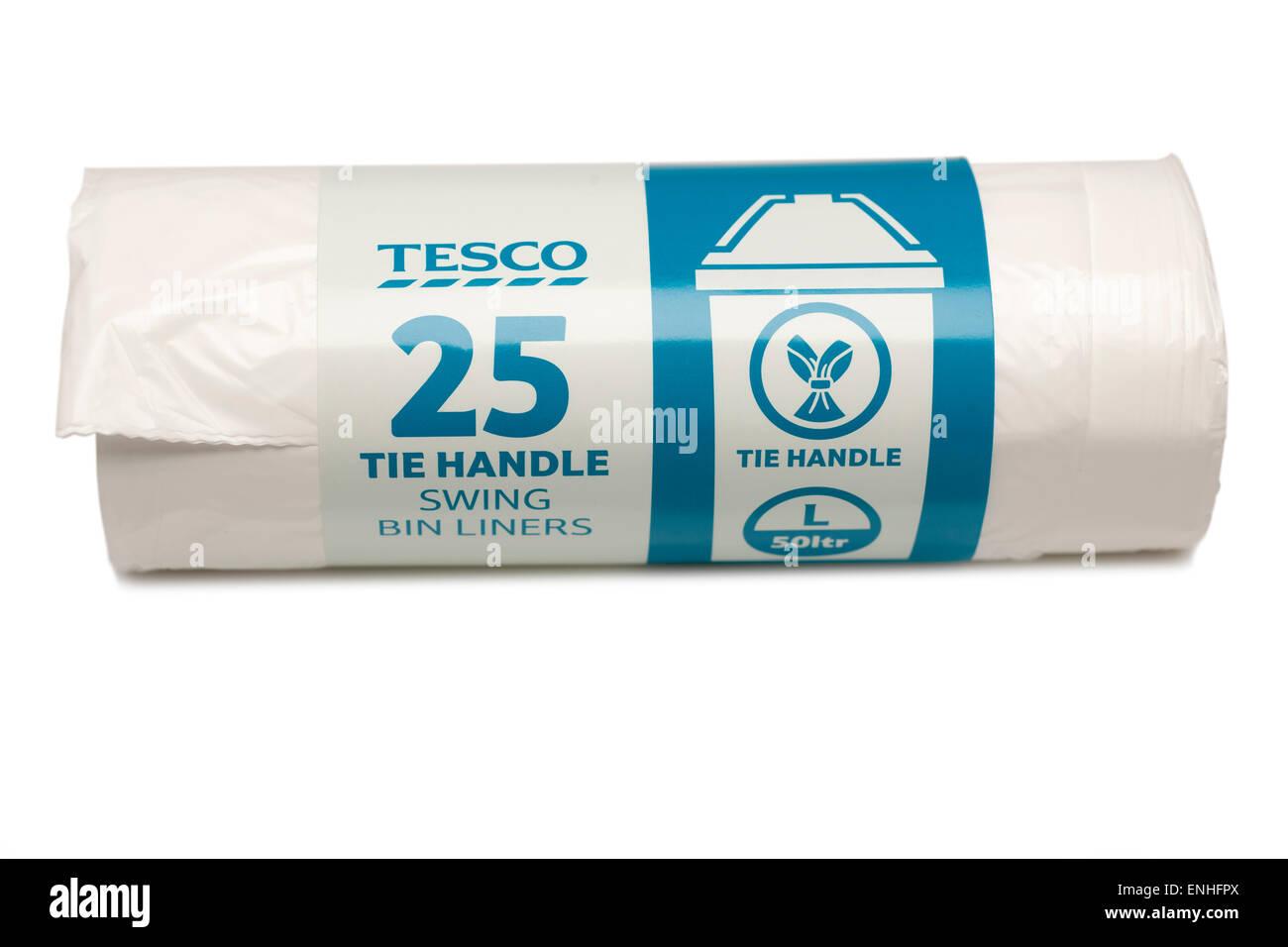 25 Tesco tie handle swing bin liners - Stock Image