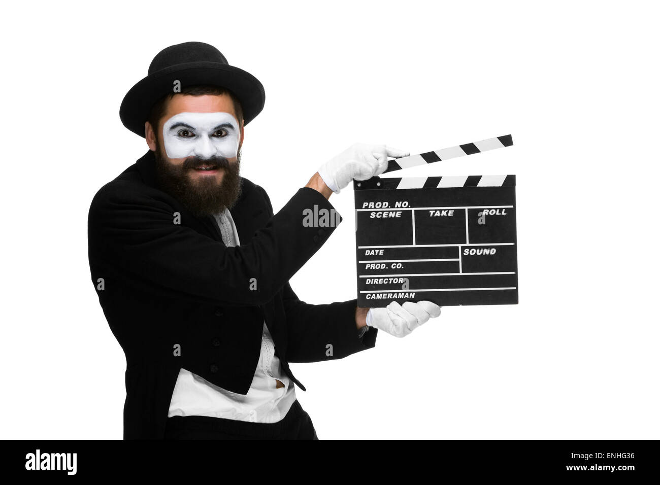 man in the image mime with movie board - Stock Image