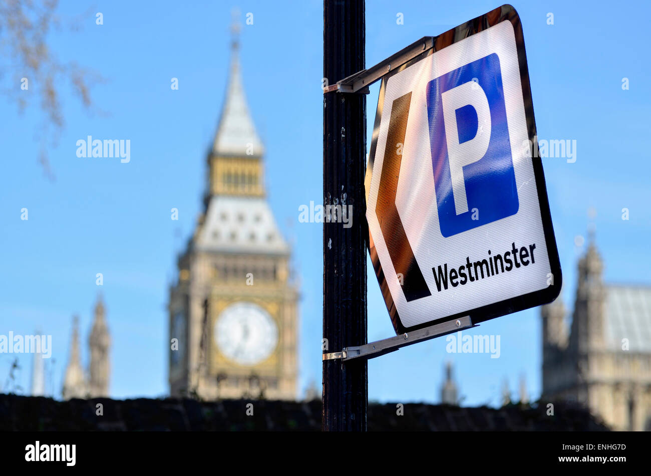 London, England, UK. Sign to a car park in Westminster. Big Ben - Stock Image