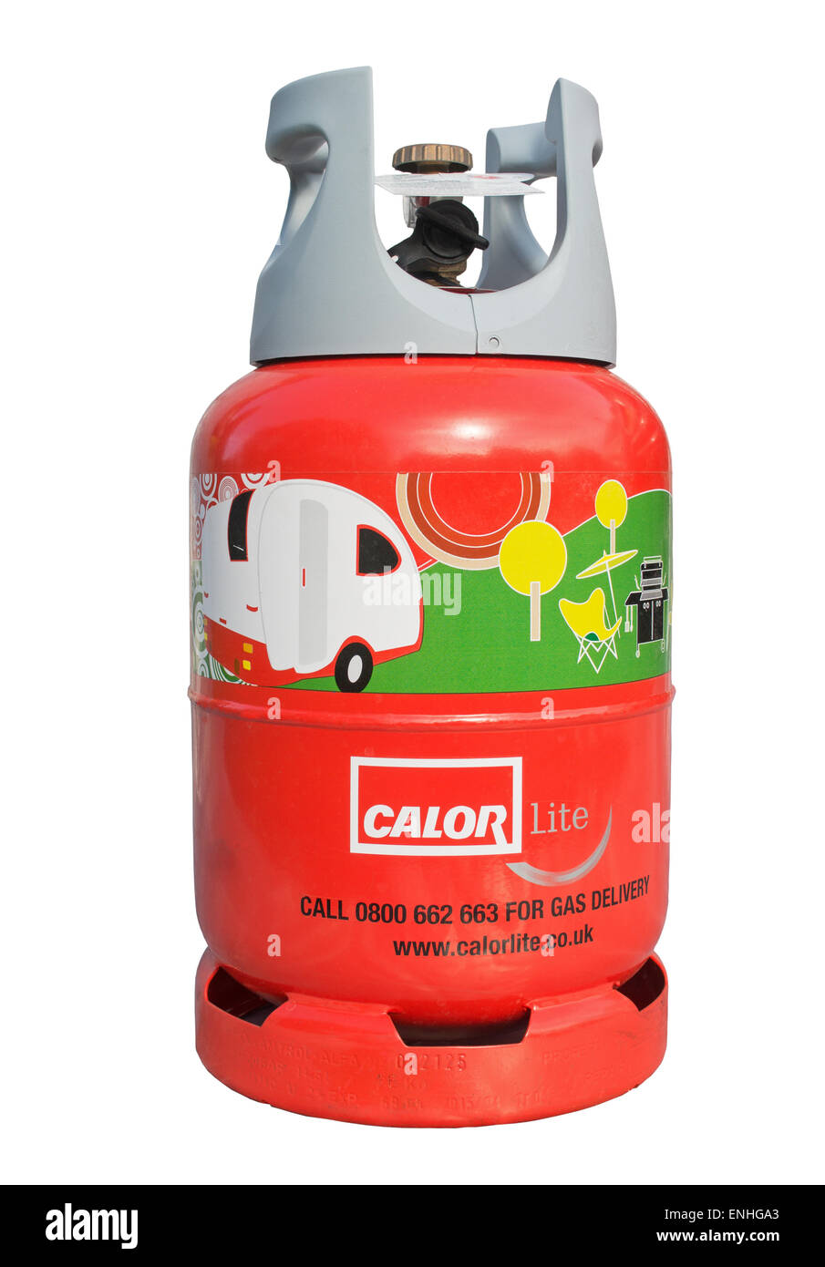 Calor Lite propane gas cylinder for use with a caravan, isolated against a white background - Stock Image