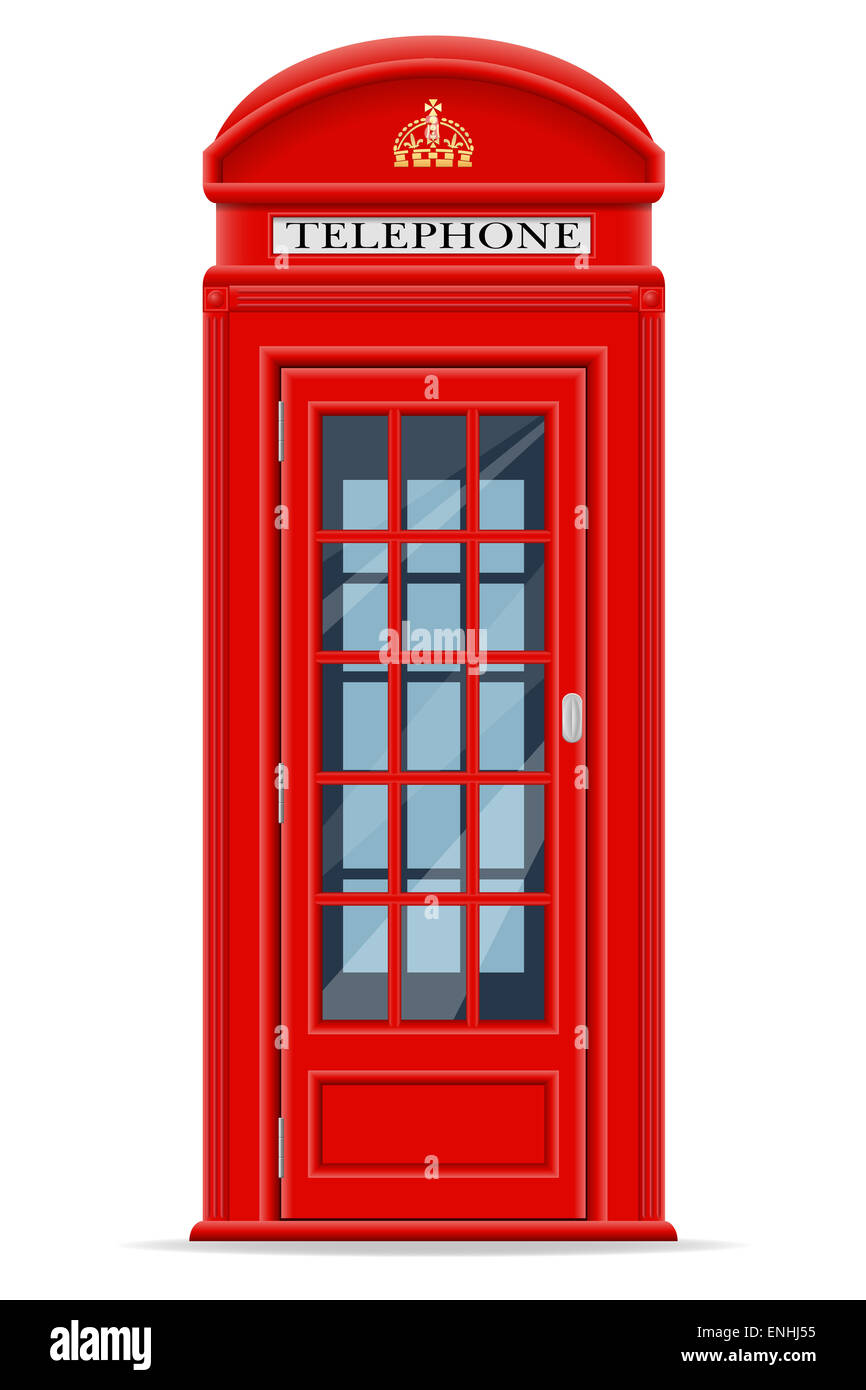 london red phone booth illustration isolated on white background - Stock Image
