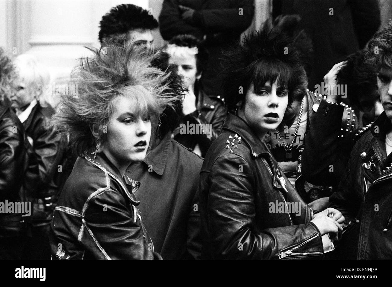 Punk Rockers March In London 3rd February 1980 Stock