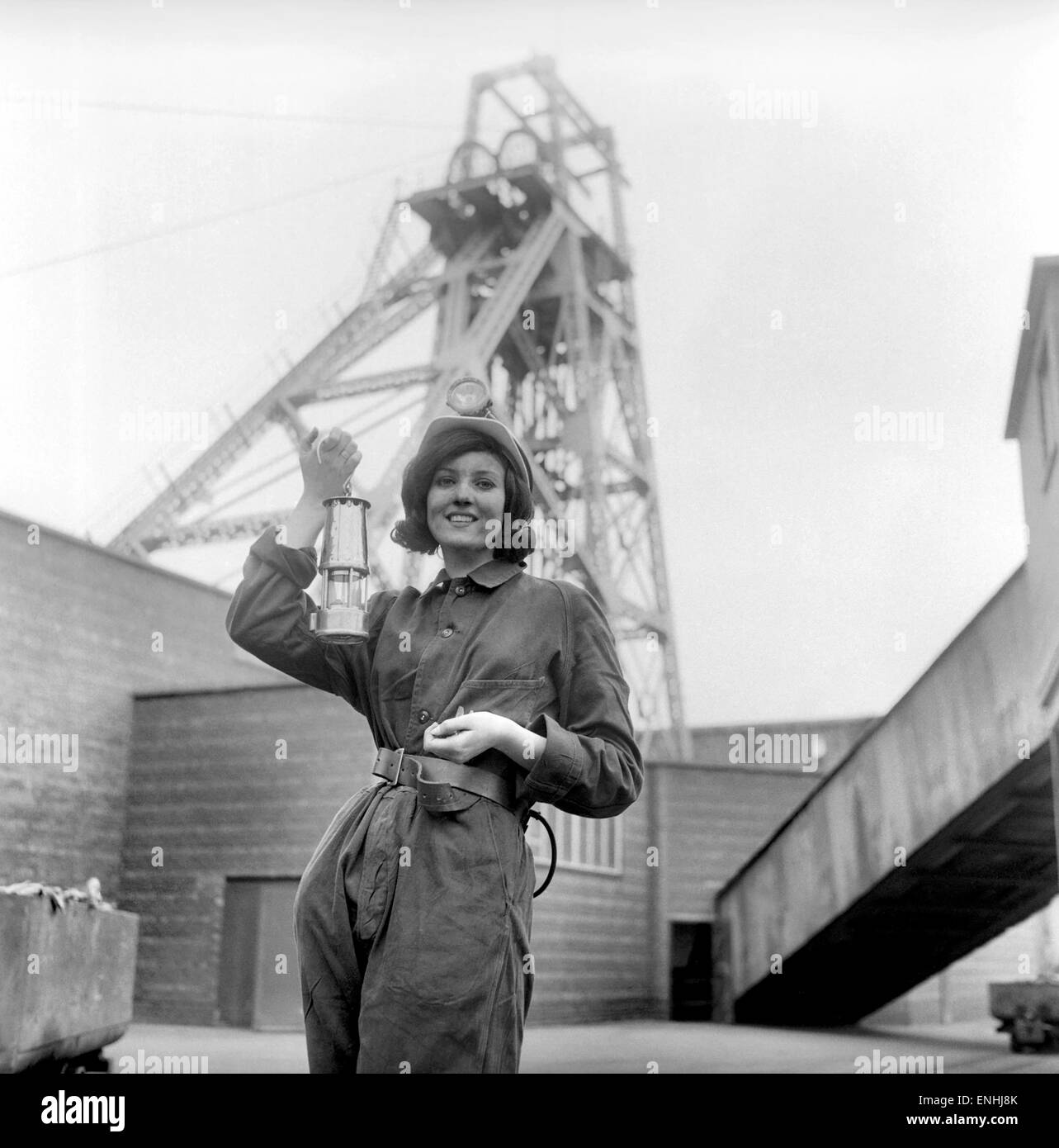 Coal Queen Arlene puts a stop to swear-words at the coal face. The 1,800 pitmen at a Yorkshire colliery were on - Stock Image