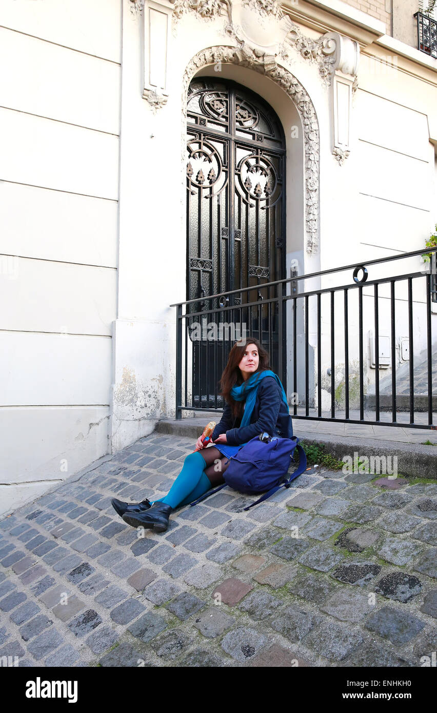 Beautiful girl on the Montmartre, in Paris France - Stock Image