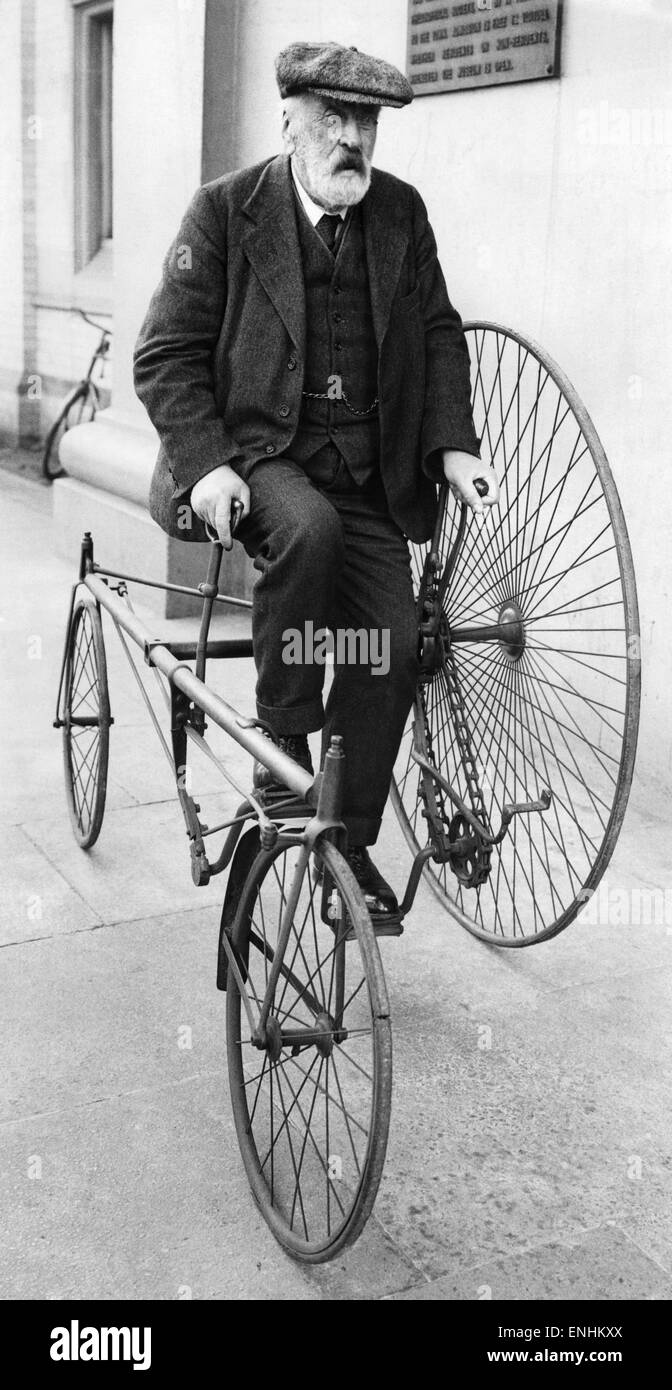 An early from of tricycle. With the addition of another big wheel it could be made to carry another person. March - Stock Image