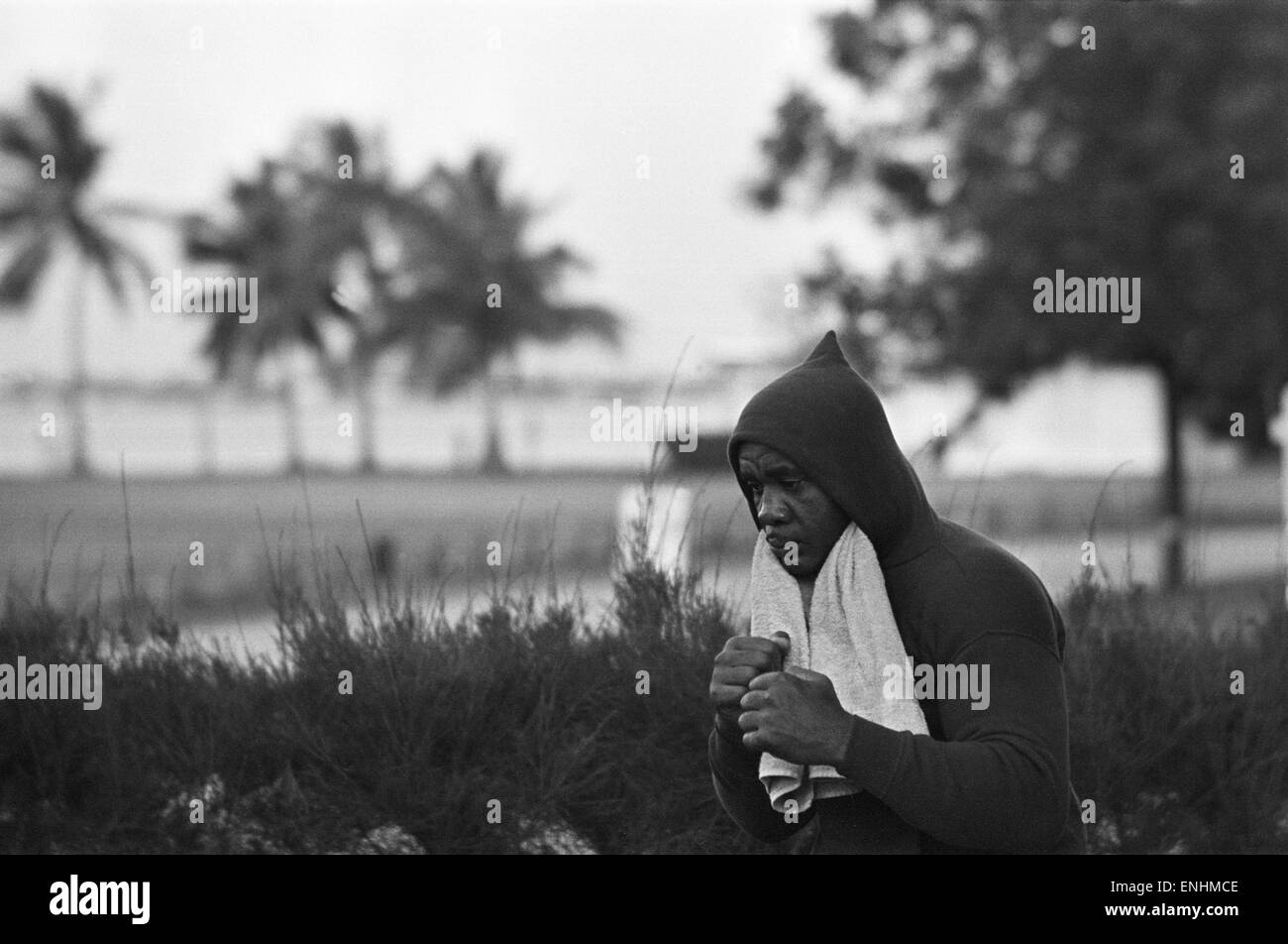 Training shots leading upto Boxing Heavyweight title fight between Sonny Liston and Cassius Clay. In which Cassius - Stock Image