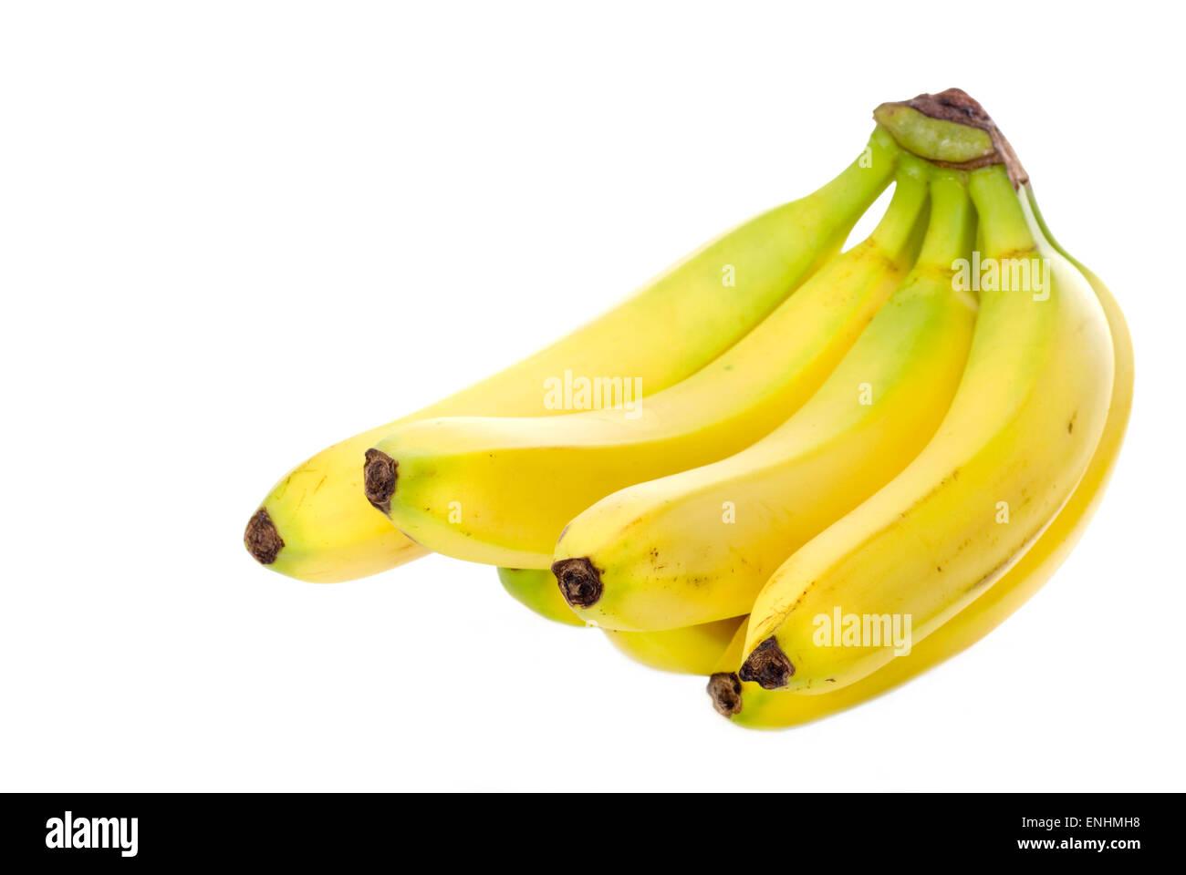 Organic bananas on white background. - Stock Image