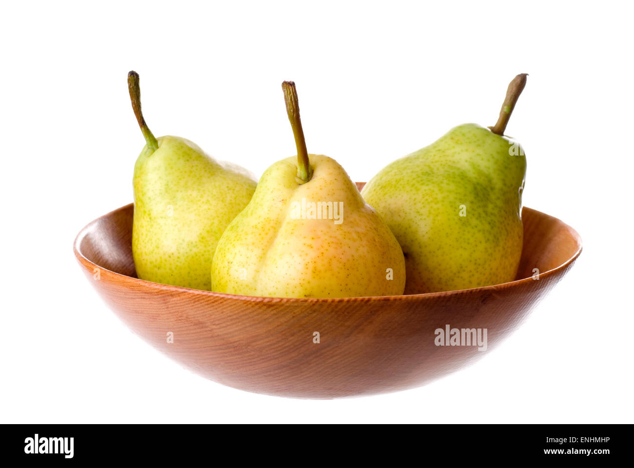 A bowl with organic pears. - Stock Image