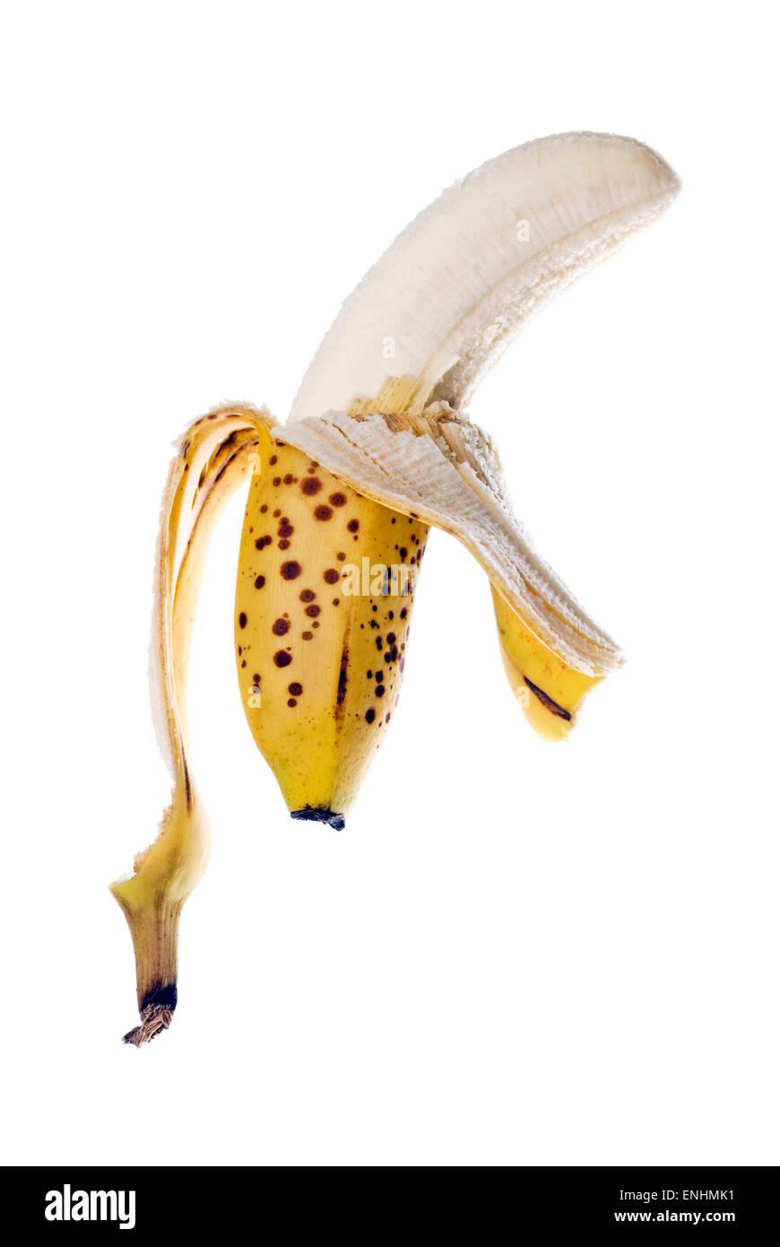 Ripe banana on white background. - Stock Image